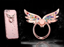 Luxury Metal Ring Holder for Mobile Phones 360 Rotation Finger Stand Support for Smart Phones Smartphones Wing Bling Diamond