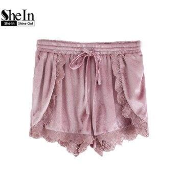 Shein mid cintura mujeres shorts purple encaje abrigo de terciopelo del lazo de la cintura pantalones cortos mujer shorts moda 2017 cortocircuitos ocasionales