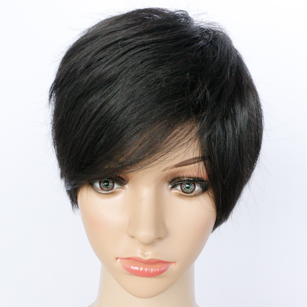 Women Short Natural Wigs African american wigs natural black Straight hair short wigs for black Women synthetic hair fluffy wigs<br><br>Aliexpress