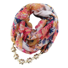 Korean Attractive Colorful Women Necklace Scarves Pearl Pendant Jewelry Bosnia Scarf Floral Pint Shawl Wrap Costume Necklace