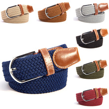 Men Women Waistband Canvas Woven Leather Pin Buckle Elastic Waist Belt