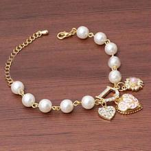 Summer Style 2016 New Fashion Jewelry Bohenmia Heart Imitation Pearl Love Heart Bracelets Bangles For Women