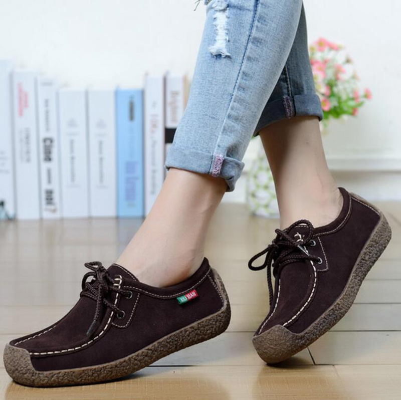 Women Shoes Genuine Leather Fashion Women Flats Loafers Lace Up Oxford Womens Flat Shoes Plus Size 35-42  cd58q<br><br>Aliexpress