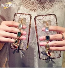 KISSCASE Fashion Bracelet Silicone Case For Apple Iphone 6 6S 6S 6Plus 5S I5 SE Bling Vintage Blue Diamond Strap Back Cover