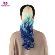 "Neverland 20"" 50cm Women Synthetic Ponytails Wavy Claw On Hair Tail T613/2513B/BLUE Ombre Heat Resistant Hair Extensions"