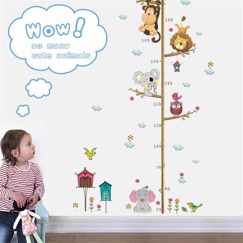 HTB1FTpdRFXXXXXzXFXXq6xXFXXXy - Cartoon Animals Lion Monkey  Elephant Height Measure Wall Sticker For Kids Rooms