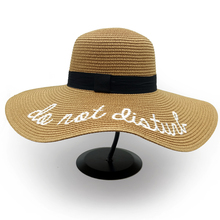 Hot sale wide Brim sun hats for women Letter Embroidery straw Hats girls Do Not Disturb Ladies Straw hats