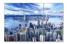 City Landscape Paintings Wall Art Decor Hong Kong in a Good Day 3 panels Picture Print on Canvas for Modern Home Decoration