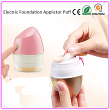 4D electric auto cosmetic makeup wet dry foundation powder refillable puff vibrating applicator with 2 detachable washable puff