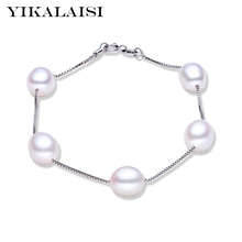 YIKALAISI 2017 Charm Bracelet Pearl Jewelry with 925 Sterling Silver jewelry Bracelet 100% real Natural Pearl Bracelet For Women