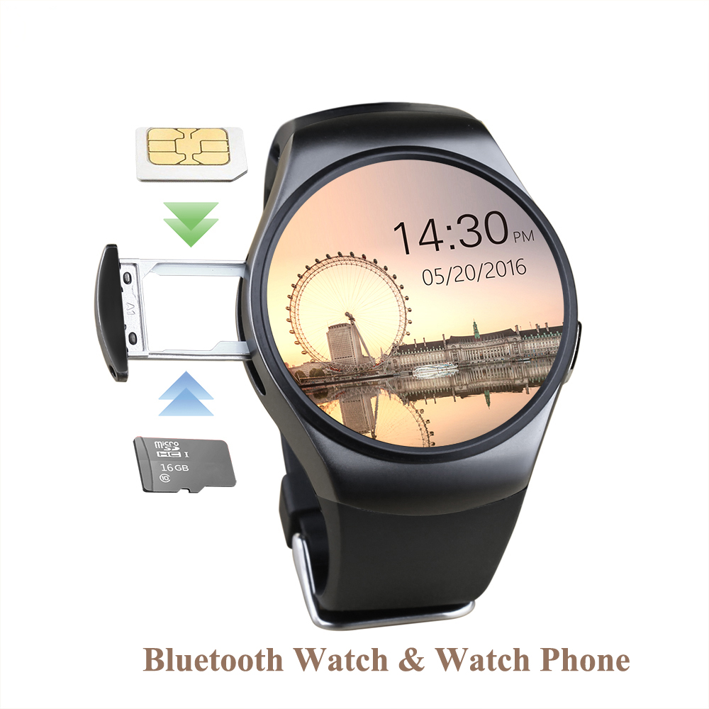 KW18 Bluetooth Smart Watch Full Screen Support TF SIM Card Smartwatch Phone Heart Rate Health Tracker for ios Android phone(Hong Kong)