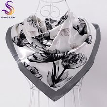 [BYSIFA] Ladies Black White Silk Scarf Shawl 2017 New Design Brand Large Square Scarves Wraps Hot Sale Mulsim Head Scarf Cape(China)