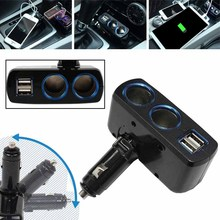 1pc Dual Ports USB Socket Splitter High Quality Car Charger Double Cigarette Lighter Socket Adapter Splitter(China)
