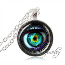 Eye in a Camera Lens Pendant Necklace,Photography Jewelry Camera Picture Art Pendant Green Human Eye Ball Jewelry Accessories