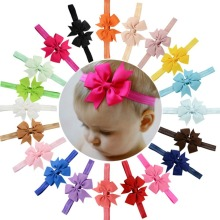 1PCS Grosgrain Ribbon Bow Flower Headbands Solid Color Girl Elastic Hair Bands Kids Hair Tie Hair Accessories 567(China)