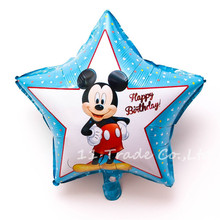 2pieces/lot 18inch blue star balloon Mickey stars helium happy birthday foil ballon for party decoration baby boy balao de festa
