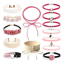 14 PCS/Set New Tattoo Leather Choker Necklaces Set for Women Hollow Out Sexy Lace Necklace Pink Jewelry Christmas Collier(China)