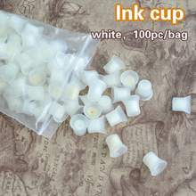 100pcs/bag Professional Permanent Makeup Ink Pigment Cups with Sponge(China)