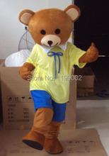 High quality New Ribbon Yellow Teddy Bear Mascot Costume Character Halloween Costumes Fancy Dress Suit Free Shipping