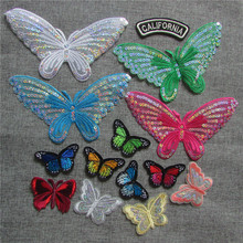 new arrive butterfly patches Iron On Patch Embroidered Applique Patch Clothes Stickers DIY Apparel Accessories C5470-C5491