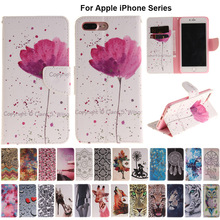 B42 Orchid Flip Leather Case Wallet Cover For Apple iPhone 5 5s SE 5C 4 4s 6 6s 7 Plus 7Plus Touch 5 6 Coque Phone Capa(China)