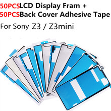 50PCS LCD Display Frame Housing + 50PCS Rear Case Back Battery Cover Adhesive Glue Tape Sticker For Sony Xperia Z3 / Z3mini
