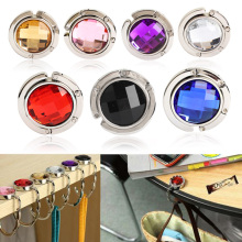 1PC Portable Women Purse Folding Rhinestone Crystal Alloy Handbag Bag Hanger Hook Holder(China)
