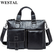 WESTAL Genuine Leather Men Bag Men Briefcases male Leather business Computer Laptop Bags Crossbody Bags Mens Messenger Bag 260(China)