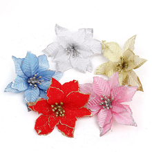 HAOCHU 5Pcs/lot 13cm 3layers high quality solid dusting Christmas Flower artificial fake flower for Christmas Tree decoration(China)