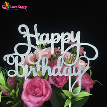 New 10pcs/lot Golden/Silvery Paper Glitter Cake Topper Happy Birthday Cake Topper Party Supplies Birthday Party Decoration Kids(China)