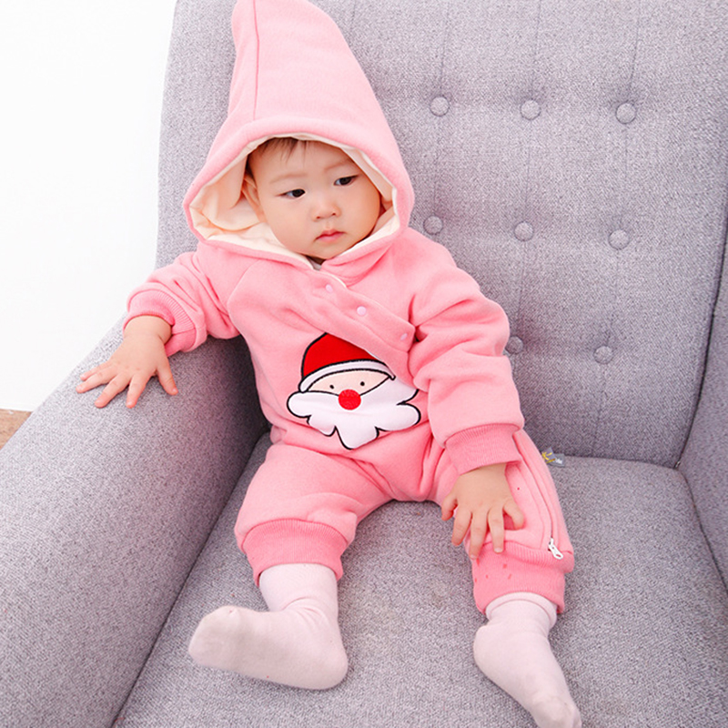 Winter 6 styles Christmas themed baby cap collar jumpsuit cartoon cute red pink grey Side zipper Cotton comfortable baby Rompers<br>
