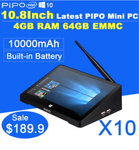 "10.8"" Touch Screen Tablet PC All-In-One Mini Computer PIPO X8 Windows 8.1 Bing Android 4.4 TV Box 2GB RAM 64G SS"