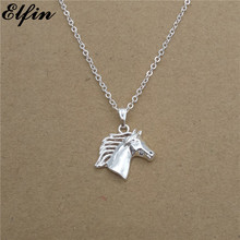 Elfin Wholesale 2017 Trendy Horse Necklace Gold Color Silver Color Horse Jewellery Steed Pendant Necklace Women Steampunk(China)