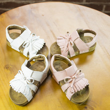 Hot sell summer White&pink tassel Genuine leather shoes toddler Baby girls sandals high quality baby moccasins shoes hard sole