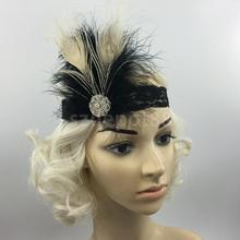 Vintage Feather 1920s Headpiece Fascinators Flapper Lace Hairband Great Gatsby Cosplay Costume Headband Fancy Headdress