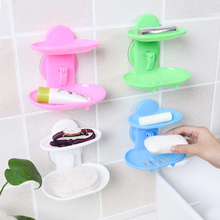 1Pc Creatived Double Layers Soap Box Bathroom Soap Dish Sucker Holder Container Store A45