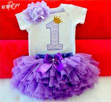 Newborn Baby Girl Clothes Sets Bebes Clothing Suits 1st Birthday Outfit Baby Rompers+Tutu Skirt+Headband Baby Christening Gift(China)