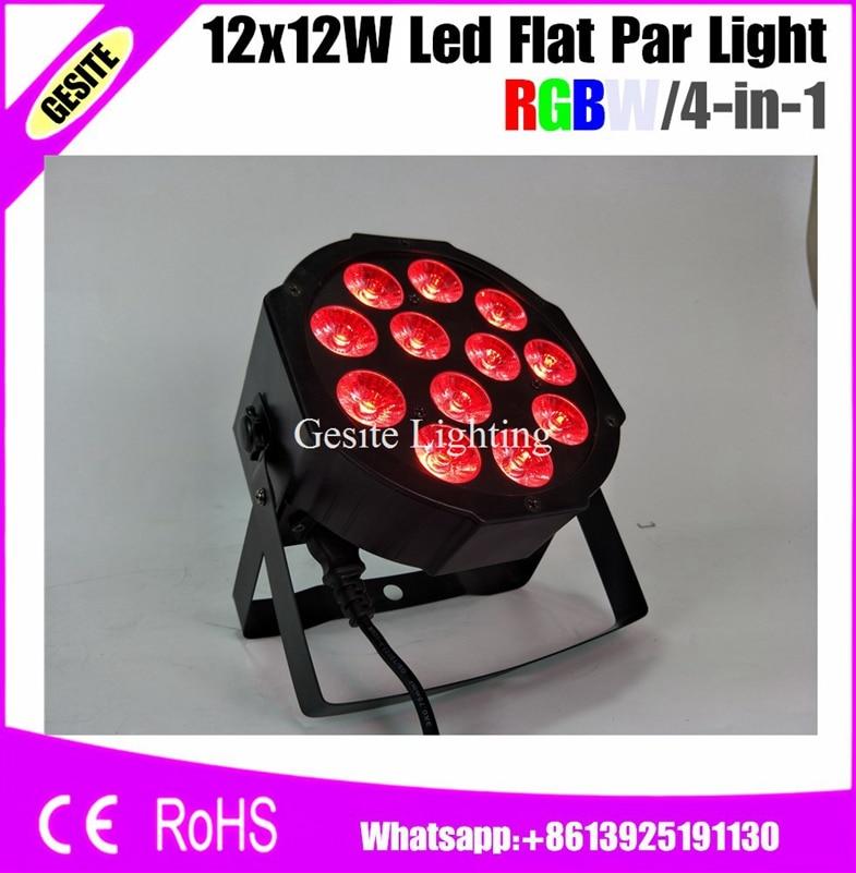 12pcs/LOT Flat Led Par Light 12x12W RGBW DMX Stage Lighting Professional DJ<br>
