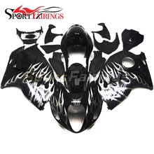 Sportbike Fairing Kits For Suzuki GSXR1300 Hayabusa 97 98 99 00 01 02 03 04 05 06 07 ABS Injection Fairings Black Silver Flames