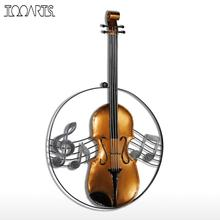 Tooarts Metal Wall Sculpture Violin Hanging Ornament Home Decor Wall Hangings Decor Music Instrument Craft Gift(China)