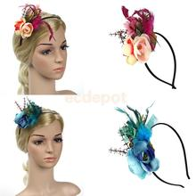 Vintage Feather Flower 1920s Hairband Fascinator Gatsby Headpieces Ascot Race Wedding Banquet Hair Accessory