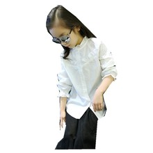 Girls Spring Autumn Korean Based Lotus Leaf Collar Sleeve Cotton White Shirt Kids Clothing(China)