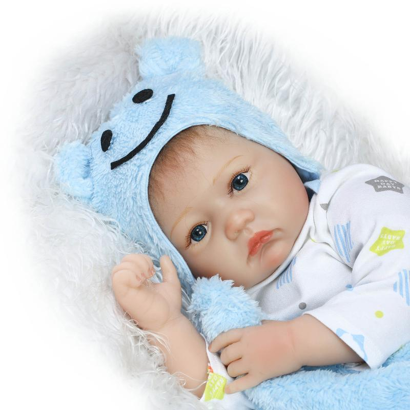22 inch 55 cm baby reborn Silicone dolls, lifelike doll reborn Lovely blue smiling face Hat Doll<br><br>Aliexpress