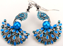 Peacock dangle long earrings for women girls antique gold silver color W crystal wholesale dropship EA07