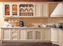 rural solid wood custom kitchen cabinets(LH-SW045)(China)