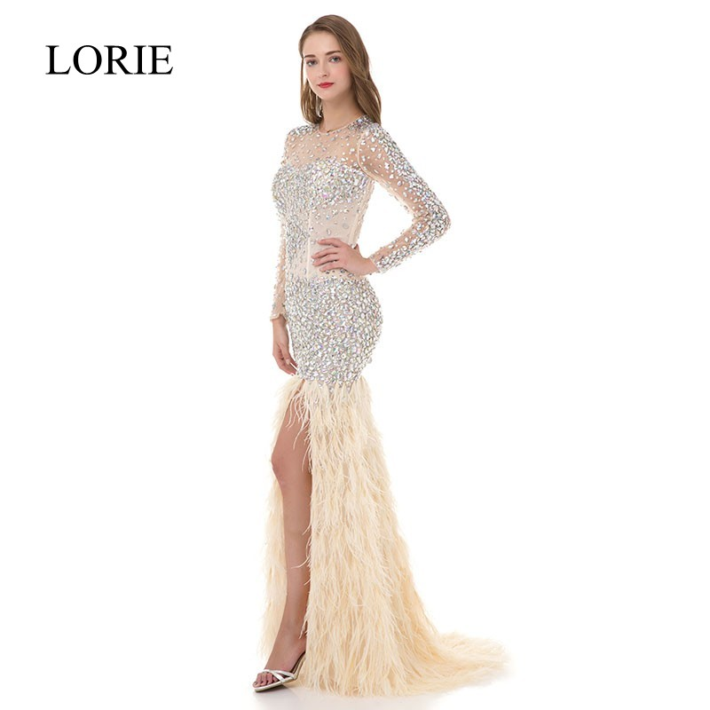 Pretty Women Ivory Mermaid Long Sleeve Prom Dresses 2018 LORIE Rhinestone Feathered Robe De Soiree Elegant Long Evening Dresses