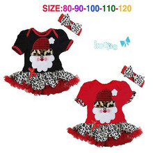 New Design girls short sleeve Christmas Santa Claus dress with leopard hem 2pcs set Children kids Xmas dresses fashion wear 5pcs(China)