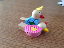 1Pcs Cartoon bird whistle baby jewelry pendant wooden musical toys wooden toys toy musical instruments(China)