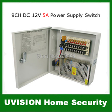 9CH CCTV Security Camera Power Supply Box DC12V 5A With Fuse free shipping