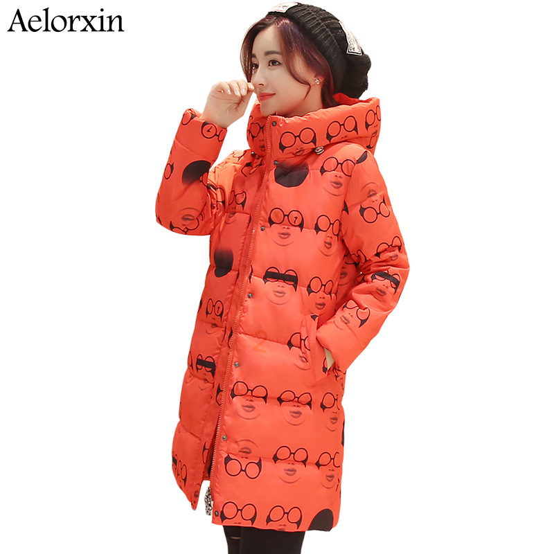 Winter Jacket Women Coat High Neckline Lady Hooded Jacket With Star Print Thick Warm Winter Female Coat  Parka Long DownОдежда и ак�е��уары<br><br><br>Aliexpress
